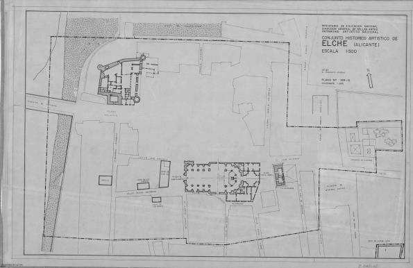 Plano que delimita la zona de la Vila Murada declarada BIC en 1968 con la denominación de Conjunto Histórico Artístico